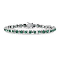 14K_White_Gold_Round_Emerald_and_Round_Diamond_Bracelet