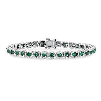 14K White Gold Round Emerald and Round Diamond Bracelet