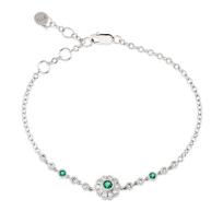 """14K_White_Gold_Emerald_and_Diamond_Flower_Bracelet,_7"""""""