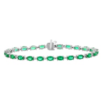 14k_white_gold_oval_emerald_&_round_diamond_alternating_station_bracelet,_7""