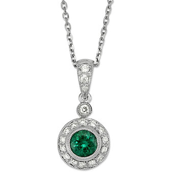 14K White Gold Round Emerald and Round Diamond Pendant