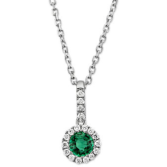 14K White Gold Round Emerald and Round Diamond Halo Pendant
