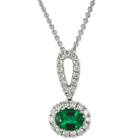 14K_White_Gold_Horizontal_Oval_Emerald_and_Round_Diamond_Halo_Pendant