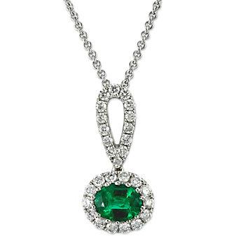 14K White Gold Horizontal Oval Emerald and Round Diamond Halo Pendant
