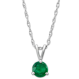 14K White Gold Round Emerald Solitaire Pendant, 5mm