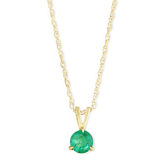 14K Yellow Gold Round Emerald Solitaire Pendant, 5mm