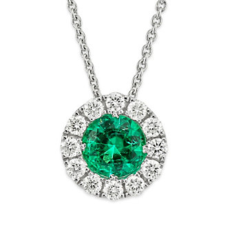 18K White Gold Round Emerald and Round Diamond Pendant