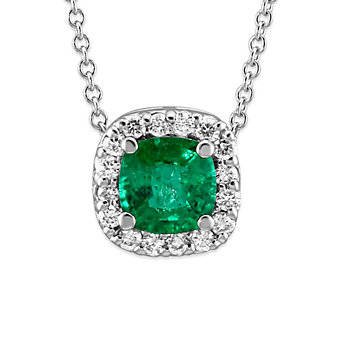 18K White Gold Emerald and Diamond Halo Pendant