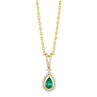 14K Yellow Gold Pear Emerald and Round Diamond Pendant