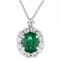 "18k_white_gold_oval_emerald_&_diamond_halo_pendant,_16"""
