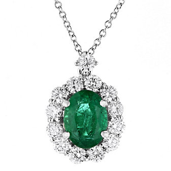 18k white gold oval emerald & diamond halo pendant, 16""