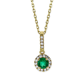 14K Yellow Gold Emerald and Round Diamond Halo Pendant