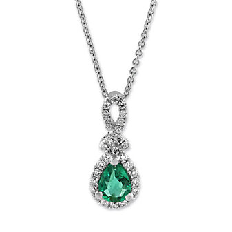 14K White Gold Pear Shape Emerald and Round Diamond Pendant