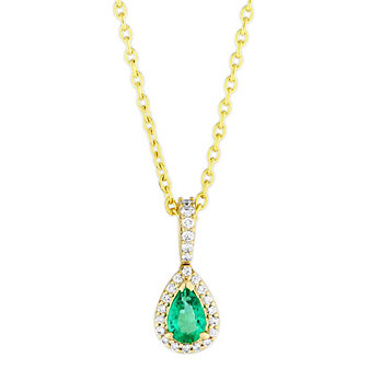 14K Yellow Gold Pear Shape Emerald and Round Diamond Pendant