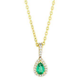 14K Yellow Gold Pear Shape Emerald and Round Diamond Pendant