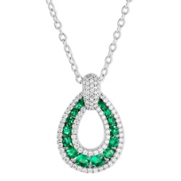 14K_White_Gold_Round_Emerald_&_Round_Diamond_Teardrop_Pendant,_18""