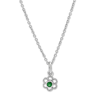Sterling Silver Child's Synthetic Emerald Flower Pendant