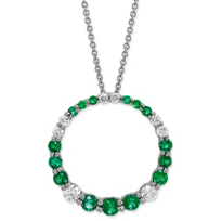 14K_White_Gold_Emerald_and_Diamond_Circle_Pendant