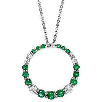 14K White Gold Emerald and Diamond Circle Pendant