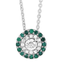 14K_White_Gold_Round_Emerald_&_Round_Diamond_Halo_Pendant