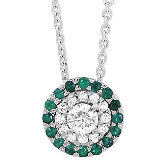 14K White Gold Round Emerald & Round Diamond Halo Pendant
