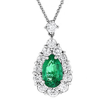 18k white gold pear shaped emerald & diamond halo pendant, 18""