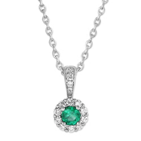 14k_white_gold_round_emerald_&_diamond_halo_pendant,_18""