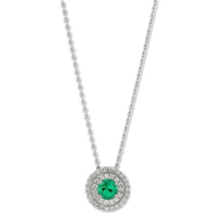 18K_White_Gold_Emerald_and_Diamond_Double_Halo_Pendant,_17""