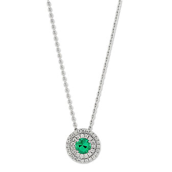 18K White Gold Emerald and Diamond Double Halo Pendant, 17""