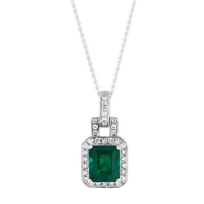 18K_White_Gold_Emerald_Cut_Emerald_and_Round_Diamond_Pendant