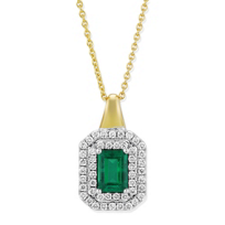 18K_Yellow_&_White_Gold_Emerald_&_Diamond_Double_Halo_Pendant
