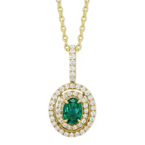 14K_Yellow_Gold_Oval_Emerald_&_Round_Diamond_Double_Halo_Pendant,_18""