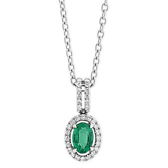 """14K White Gold Oval Emerald and Diamond Halo Pendant Necklace, 18"""""""
