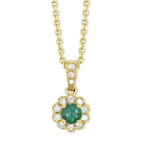 14K_Yellow_Gold_Round_Emerald_&_Diamond_Flower_Pendant,_0.10cttw