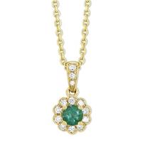 14K_Yellow_Gold_Round_Emerald_&_Diamond_Flower_Pendant,_0.10cttw