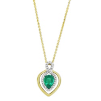 18K_Yellow_&_White_Gold_Pear_Shape_Emerald_and_Diamond_Pendant