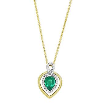18K Yellow & White Gold Pear Shape Emerald and Diamond Pendant