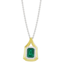 18K_Yellow_Gold_Emerald_Cut_Emerald_and_Diamond_Halo_Pendant