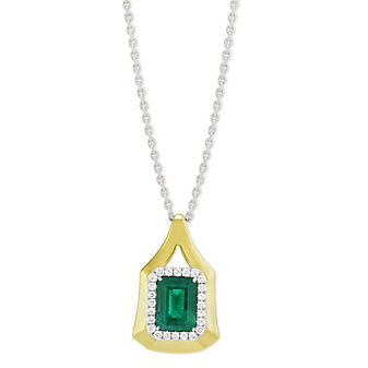 18K Yellow Gold Emerald Cut Emerald and Diamond Halo Pendant
