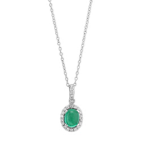 "18K_White_Gold_Oval_Cabochon_Emerald_&_Diamond_Pendant,_16""____"