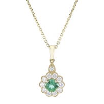 14k_yellow_gold_round_emerald_and_diamond_flower_pendant,_18""