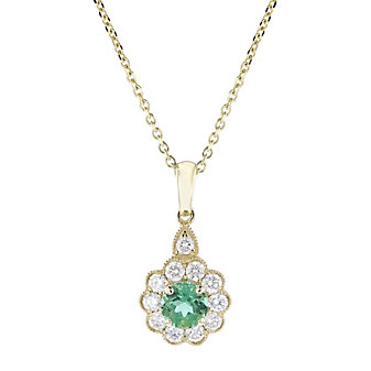 14k yellow gold round emerald and diamond flower pendant, 18""