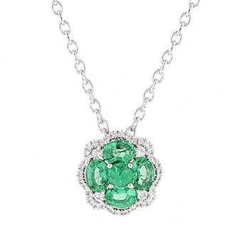 14k white gold emerald & diamond flower pendant