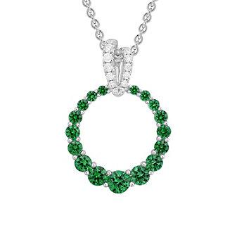 "14K White Gold Emerald Open Graduated Circle Pendant with Diamond Bail, 18"""