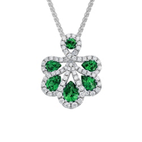 14K_White_Gold_Emerald_and_Diamond_Petals_Pendant,_18""