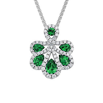 14K White Gold Emerald and Diamond Petals Pendant, 18""