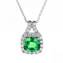 14k_white_gold_cushion_emerald_&_diamond_frame_pendant,_18""