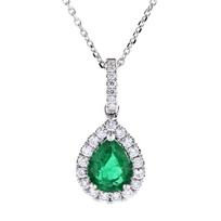 "14k_white_gold_pear_shaped_emerald_&_diamond_halo_pendant,_16"""