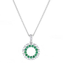 14k_white_gold_emerald_&_diamond_dangle_pendant,_18""