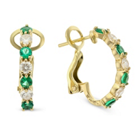 18K_Yellow_Gold_Round_Emerald_and_Round_Diamond_Half_Hoop_Earrings